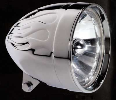 The same headlight after flames embossed with a 3D displacement map