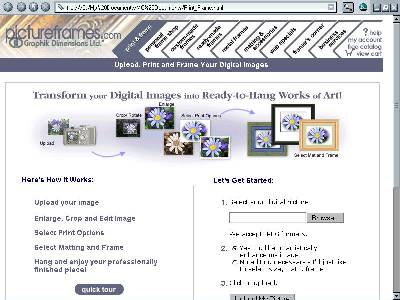 An image of the PictureFrames.com website