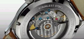Image of 121Time automatic watch, showing movement mechanism through transparent back
