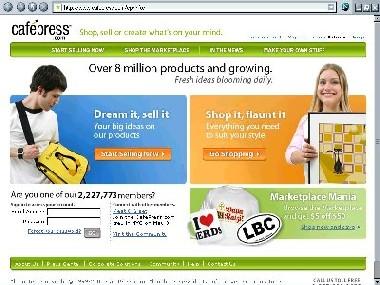 image of CafePress.com homepage
