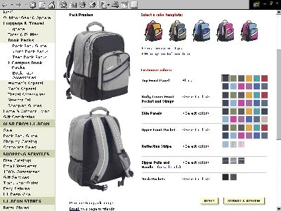 The Customized Book Pack Design Page On L Bean Website