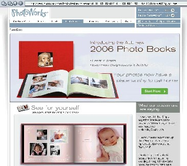 An image of the Custom Photo Book page on the PhotoWorks.com website