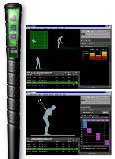 Image of SmartSwing-equipped golf club and swing pattern diagrams