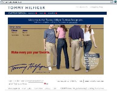 screen shot of Tommy Hilfiger Custom Design website