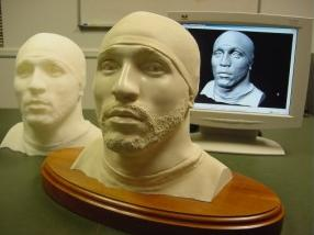 The scan data output as a bonded marble bust - one example of the many possible output format