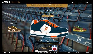 A screen shot of the Reebok Custom website, which is powered by Confego's software